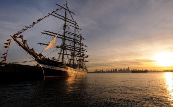 Bark, sailing ship, sunset