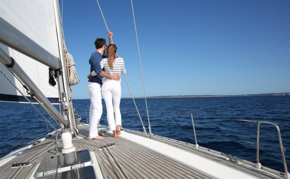 Romantic couple on a sailing