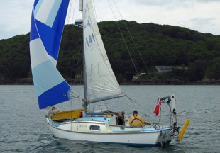 A Westerly 22 sailboat off Plymouth UK