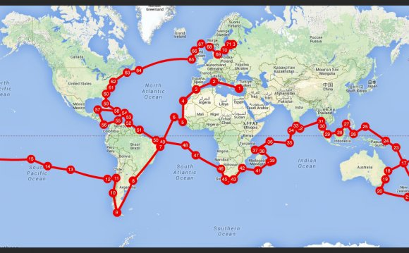 Sail around the world route