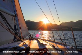 Sunset view from a sailing boat
