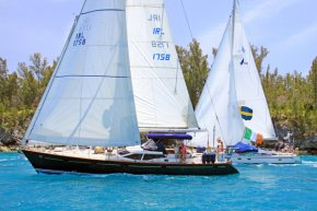 The Oyster 56 a female departs Bermuda in organization with a Bavaria 50