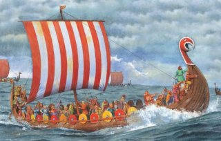 Viking raiders sailed in thin wooden longships