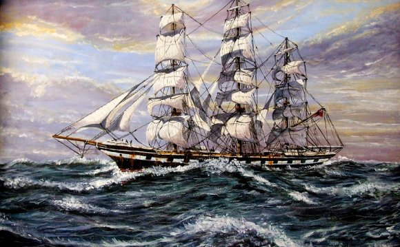 Square rigged sailing ships